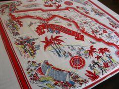 Vintage Florida souvenir tablecloth  1940s  palm by 3floridagirls, $110.00