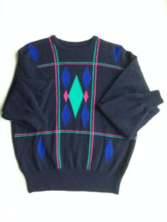 Pringle Scotland Navy Blue Neon Art Deco Print Sweater by ENGARLAND on Etsy