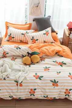 Multicolor Pastorale Striped Fruit&Vegetable Sheet Sets Bedding Sets, size features are:Bust: ,Length: ,Sleeve Length: Cute Room Decor, Bedroom Orange, Orange Room Decor, Aesthetic Room Decor, Room Ideas Bedroom, Bedding Sets, Cute Bedding, Girl Bedding, Home Decor