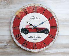 art4097 {9,80 €} ξύλινο ρολόι τοίχου με ιδιαίτερο τύπωμα (διάμετρος 34 εκ.)