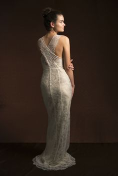 Cross over back style wedding dress by La Poésie ~ Romantic and Luxurious British Bridal Wear