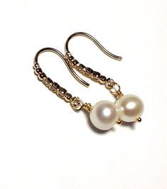 Wedding Jewelry / White pearl earrings / Preppy Dangle pearl drop earrings /AAA Quality freshwater round white pearl/ bridesmaid gifts