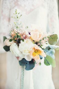 Peach poppies and white peonies | Event Design & Florals: Rock Paper Scisscors Events - rpscissors.com | Photography: Peaches And Mint - www.peachesandmint.com  Read More: http://www.stylemepretty.com/2014/05/12/emerald-mint-peach-wedding-inspiration/