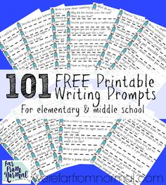 101 Free printable writing prompts--use as drawing prompts