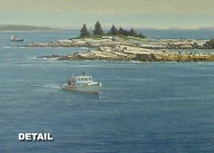 """Pulling in the Traps"", Alkyd  Less than five hours left on this secondary market original painting available on Ebay: http://ebay.to/12dVJhb  #maine #lobsterboat #greatwass #jonesport #bealsisland #maritime"