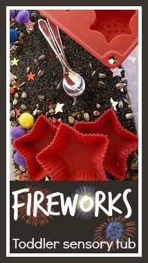 Fireworks toddler sensory tub