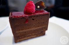 image of Raspberry and chocolate bar at Lady M Confections Bryant Park in NYC, New York