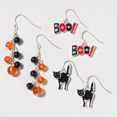 BOO! Get into the Halloween spirit with this 3 Pair Drop Earrings Set