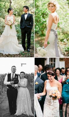 Wedding Gowns  Layered Dress: Wedding Chicks  Mermaid with purple sash: Grey Likes Weddings  Colored dress: Ruffled  Lace cut-out one shoulder: Snippet and Ink