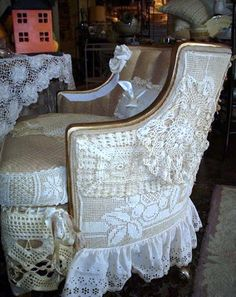 Sbabby chic chair covered in lace, oooh my style!!