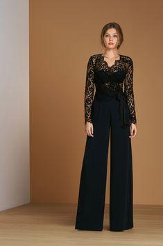 PACAM004+PAPANL001 - Blouse and Trouser in Lace and Crêpe Couture - Atelier Emé