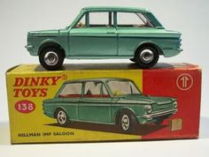 Dinky Toys No.138 Hillman Imp. Again, nowhere near as good as the Corgi example with opening rear window and fold down back seat