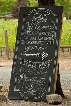 cute chalkboard wedding ceremony sign by They So Loved events http://www.weddingchicks.com/vendor-guide/they-so-loved-events/