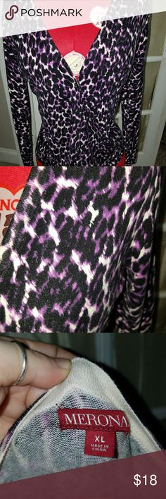Purple leopard print cardigan Beautiful purple leopard print cardigan by Merona, EUC, MINT!! Merona Sweaters Cardigans