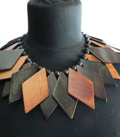 art deco chunky wood necklace /vintage 1930s Wood fringe Beads Bib Necklace / avant garde modernist jewelry. $125.00, via Etsy.