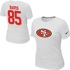 Nike San Francisco 49ers 85 Vernon Davis Name & Number Women's TShirt White