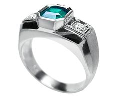 Men's emerald stone rings 14k white gold