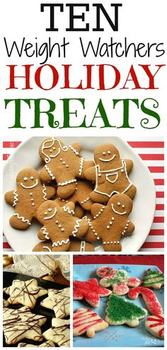 10 Weight Watchers Holiday Treats Yummy and healthy! Noel Christmas, Christmas Treats, Holiday Treats, Holiday Recipes, Christmas Gingerbread, Skinny Recipes, Ww Recipes, Healthy Recipes, Cookie Recipes