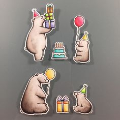 Time to celebrate. Colored @mftstamps ' Birthday Bears with my Zig Clean Color…