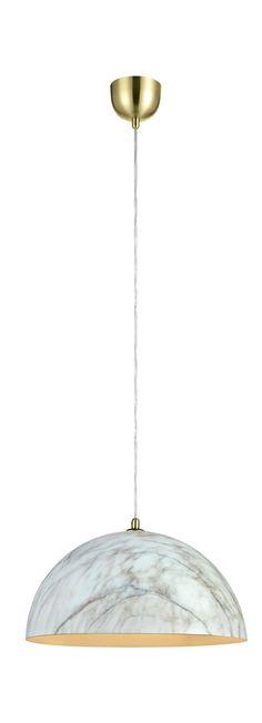 Markslöjd taklampa Rock. Metall med mönster i marmor. Detaljer i mässing. 1,5m sladd med takkåpa för krokupphäng. Takkontakt klass 1 (Jordad) medföljer. Stor (E27) lamphållare för max 60W glödljus eller motsvarande styrka i halogen, lågenergi eller LED.  #taklampa #cellinglight #light #markslöjd # lampa #lamp #light