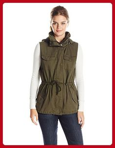 VELVET BY GRAHAM & SPENCER Women's Army Vest with Fur Hood, Deep Green, X-Small - All about women (*Amazon Partner-Link)
