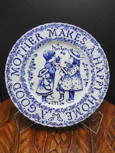 "1973 Norma Sherman "" A good Mother Makes A Happy Home "" Plate Crownford England"