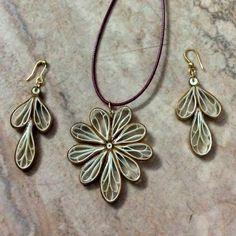 J 60 - Quilled earrings & pendant - 2.5in