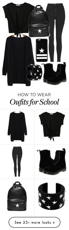 """how to dress for school on MONDAY"" by pashion1for2fashion on Polyvore featuring Topshop, Givenchy, Dr. Martens, RED Valentino, women's clothing, women, female, woman, misses and juniors"