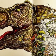 This is my tyrannosaur rex😁King of the dinosaurs😮My first page from Imagimorphia Coloring Book Art, Colouring Pages, Adult Coloring Pages, Colored Pencil Techniques, Artist Aesthetic, Polychromos, Coloured Pencils, Color Pencil Art, Colorful Drawings