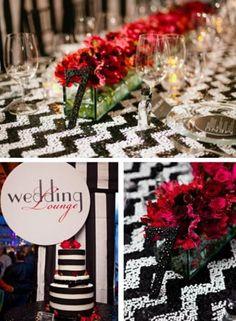 Black and white Chevron or zig zag tablescape. So gorgeous.