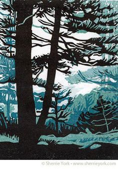 linocut, Sherrie York, trees, forest, nature, colour, printmaking, design, illustration, print, lino