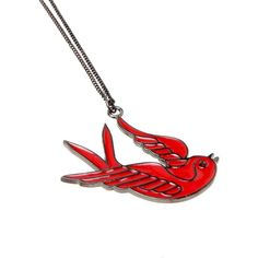 Bird Necklace Red ❤ liked on Polyvore