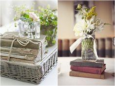 Decoração com Livros Casamento Rústico | Book Decor for Wedding http://blogdamariafernanda.com/decoracao-com-livros