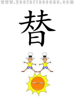 替 = replace,substitute. Imagine a guy replaced by another for working over the sun. Detailed Chinese Lessons @ www.yostarlessons.com
