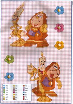 Picture only - Disney Beauty and the Beast Cogsworth & Lumierre cross stitch pattern Disney Cross Stitch Patterns, Cross Stitch Charts, Cross Stitch Designs, Cross Stitching, Cross Stitch Embroidery, Embroidery Patterns, Disney Diy, Disney Crafts, Beauty And The Beast Cross Stitch