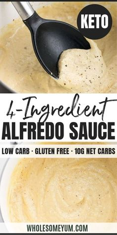 Easy Low Carb Keto Alfredo Sauce Recipe - Gluten Free - This low carb keto Alfre. - Easy Low Carb Keto Alfredo Sauce Recipe – Gluten Free – This low carb keto Alfredo sauce recipe - Keto Foods, Healthy Low Carb Recipes, Ketogenic Recipes, Low Carb Keto, Ketogenic Diet, Protein Foods, High Protein, Keto Sauces, Low Carb Sauces