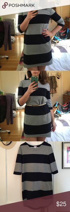 Cozy Gap Dress Gray and navy striped dress that's high in the front and long in the back. Single pleat in the center-back, and quarter sleeve length. This dress is a thick material, almost like a sweatshirt material. Pair it with a belt! GAP Dresses High Low
