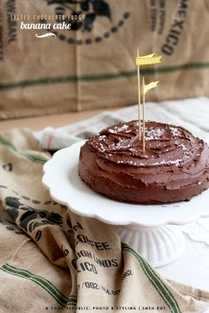 Salted chocolate fudge banana cake.