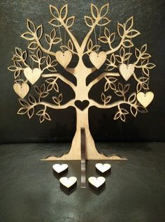 Laser Cut Tree Shape , Family Tree 20cmx18cm with 10x heart 2cm