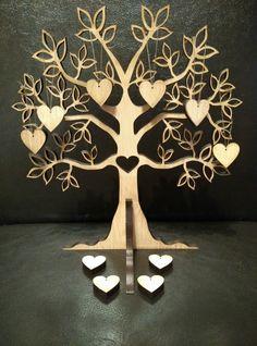 Laser Cut Tree Shape , Family Tree 20cmx18cm with 10x heart 2cm