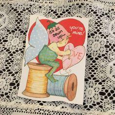 Vintage-Greeting-Card-Valentine-Pixie-Elf-Flower-Butterfly-Thread-Spool