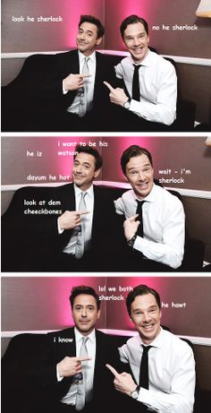 Without the words, this would be pretty funny.  A Tale of Two Sherlocks