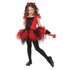 Halloween Devil Design Tutu Dress Haeddress Fingerless Gloves Christmas Kids Celebration Ceremony Theme Costumes