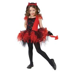 Halloween Devil Design Tutu Dress Haeddress Fingerless Gloves Christmas Kids Celebration Ceremony Theme Costumes