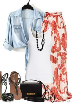 Yellow Maxi Skirt, White Sleeveless tank, and Light Blue Jean Shirt (that does not fit - to tie up), sandals