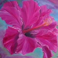 flower painting, hibiscus painting, original oil painting, fine art, by oilpaintingflowers on Etsy