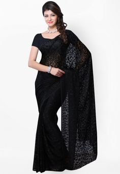 Black Printed Saree at $97.50 (35% OFF)