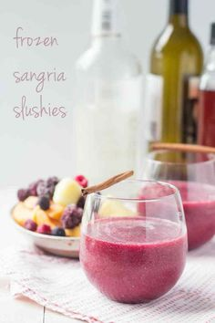 Frozen Sangria Slushies!  Omg never again will I spend hours marinating fruit in wine.  Just plop it in the blender and whiz!  This is life changing.