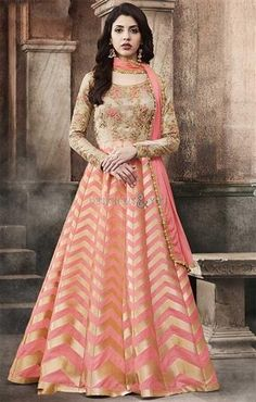 #Order#Now Fabulous Light Peach Dhupian-Brocade Long #Anarkali #Gown #Dress #Online. This #Umbrella#Frock #Suit Has Scoop Neck, Full Sleeves, Beading & Embroidery.  #Designers#And#You