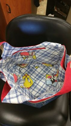 Denim tote- lined with Loonie toons print fabric